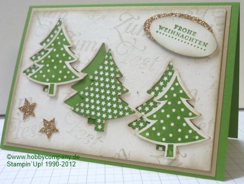 weihnachtskarte tannenb ume gestempelt und gestanzt basteltipps und anleitungen von stampin. Black Bedroom Furniture Sets. Home Design Ideas