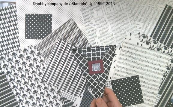 so viele Ideen mit dem Designerpapier Potpourri in Schwarz-Weiß von Stampin up