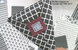 eine Tüte mit dem Designerpapier Potpourri in Schwarz-Weiß von Stampin up