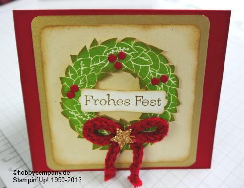 """Weihnachtskarte mit dem Stempel """"Wonderful Wreath"""" von Stampin Up"""