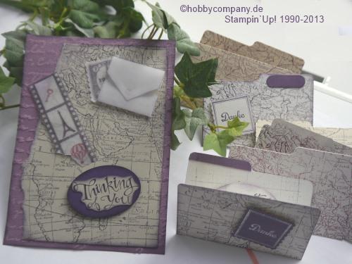 Grußkarte zum Weltkartenbasteltag mit dem Stempel Worldmap