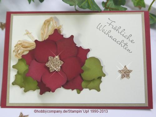 Grußkarte mit einem Weihnachtsstern aus der Mosaikstanze