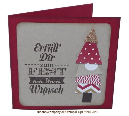 """Eine Weihnachtskarte mit dem Stempel """"kleiner Wunscherfüller"""""""