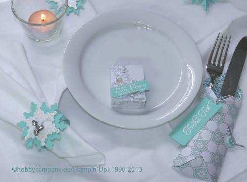 Tischdeko mit Festive Flurry, Designerpapier Eiszauber und dem Falzbrett