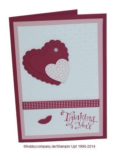 Herzliche Grußkarte mit dem Stempelset Heart of Flutter von Stampin Up
