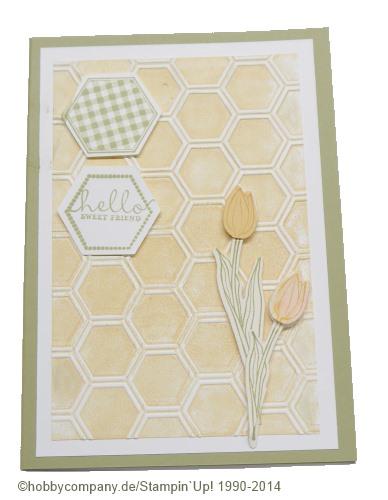 Grußkarte mit Prägefolder Honigwabe