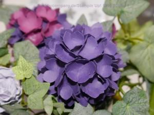 """Hortensien aus Papier mit der Stanze """"kleine Blüte"""" von Stampin`Up!"""