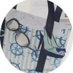 Strandtasche mit maritimen Stempel und Papier von Stampin Up