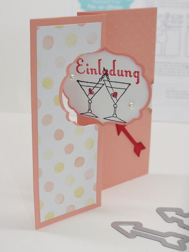 Hochzeitseinladung, eine Pop-up Karte mit Thinlits Formen