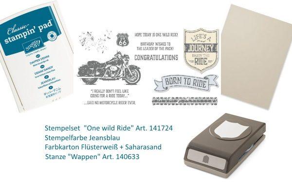 Material Bikerkarte, für Motorradfans