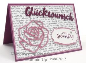 Geburtstagskarte basteln mit Rosenzauber