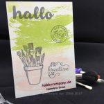 Postkarte basteln mit Watercolor Wash