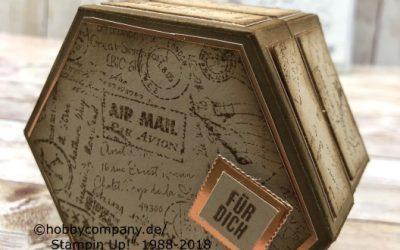 Fensterschachtel und Stempel Post Script