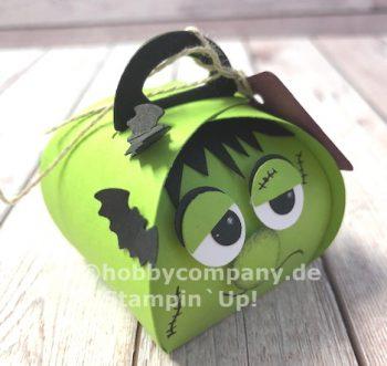 Halloweenverpackung basteln mit mini Zierschachtel