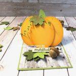 Herbstdeko Kürbiskarte basteln