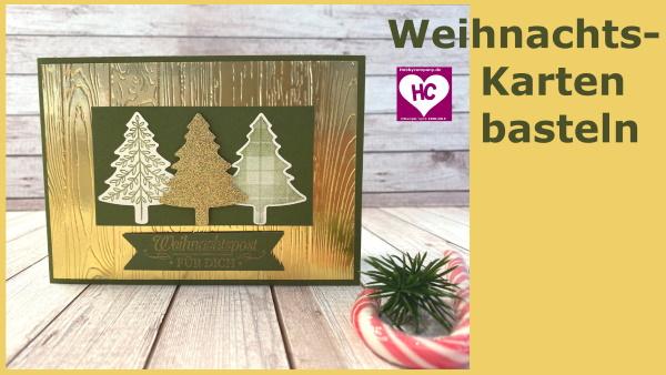 Weihnachtskarte basteln mit Prägung