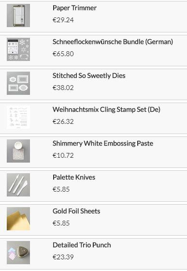 Stampin`UP! Produkte für die Weihnachtskarte