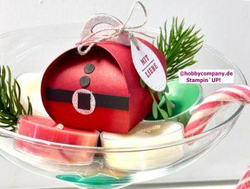 Mini-Zierschachtel Weihnachtsmann für Teelicht