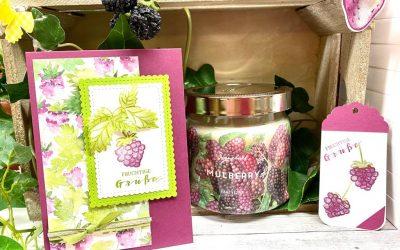Beerenstark Karten Idee und Kerzen Deko