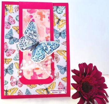 3-fach Klappkarte zum Geburtstag basteln Schmetterling