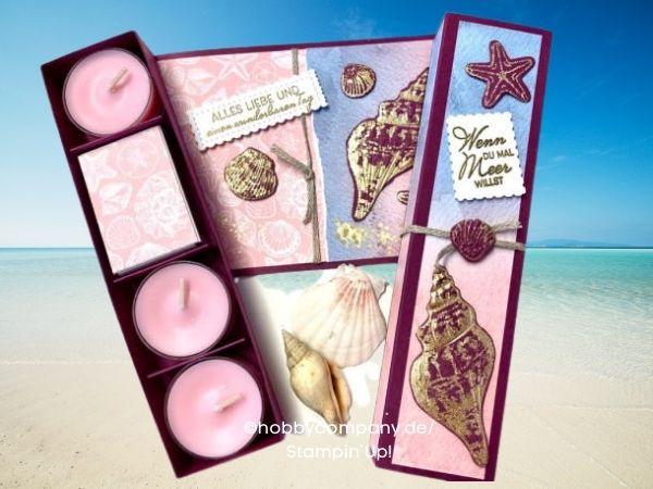 Exklusive Teelicht-Verpackung Meeresmuscheln