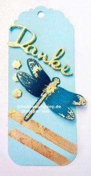 Libelle mit Deko Metallblättchen