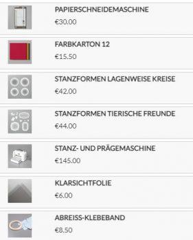 Stampin`Up! Produkte für die Box
