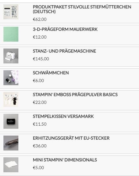 Stampin up Produkte für meine Karte
