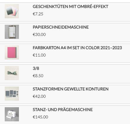 Materialliste für Geschenktüte basteln