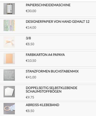 Stampin Up Produkte für mein Projekt