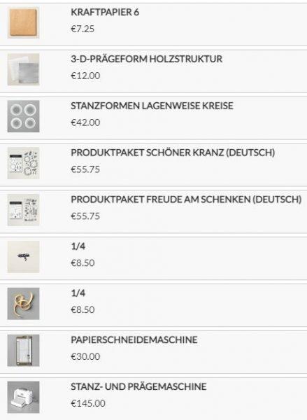 Stampin Up Produkte für den Mini-Korb