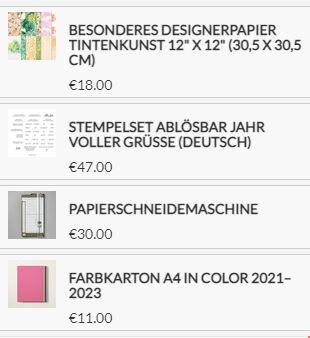 Stampin Up Produkte für die Slider Box