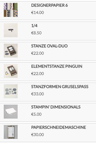 Stampin up Produkte4 für die Mini-Tüten