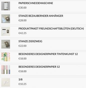 Stampin Up Produkte die ich für die Verpackung verwendet habe